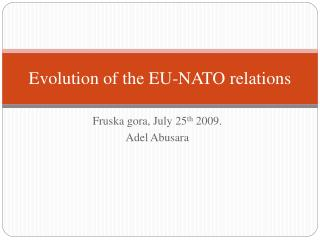 Evolution of the EU-NATO relations