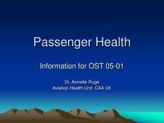Passenger Health
