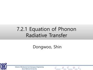 7.2.1 Equation of Phonon  Radiative  Transfer