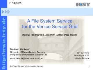 A File System Service for the Venice Service Grid