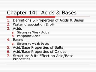 Chapter 14:  Acids & Bases
