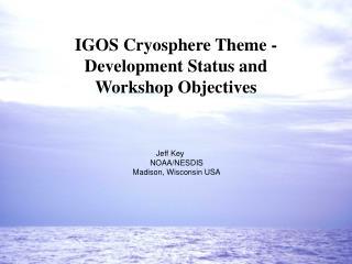 IGOS Cryosphere Theme -  Development Status and  Workshop Objectives