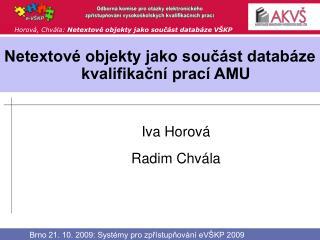 Netextové objekty jako součást databáze kvalifikační prací AMU