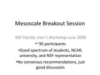 Mesoscale  Breakout Session