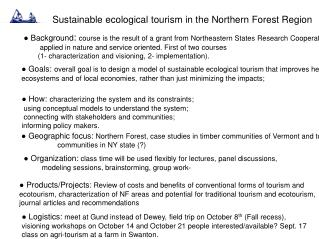 Sustainable ecological tourism in the Northern Forest Region