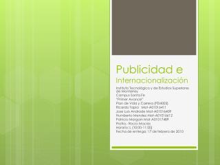 Publicidad e  Internacionalización