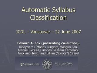 Automatic Syllabus Classification JCDL – Vancouver – 22 June 2007