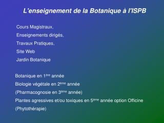 L'enseignement de la Botanique à l'ISPB