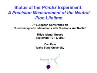 Status of the  PrimEx  Experiment: A Precision Measurement of the Neutral Pion Lifetime