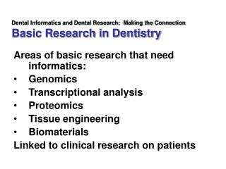 Dental Informatics and Dental Research:  Making the Connection Basic Research in Dentistry
