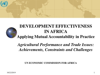 INNOVATION FOR AGRICULTURAL TRANSFORMATION AND IMPROVED LIVELIHOODS IN AFRICA