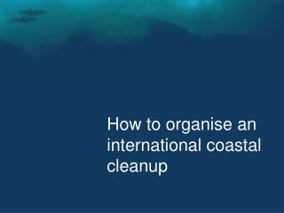 How to organise an international coastal cleanup