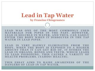Lead in Tap Water by Francine Chingcuanco
