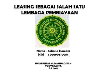 LEASING SEBAGAI SALAH SATU LEMBAGA PEMBIAYAAN