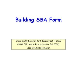 Building SSA Form