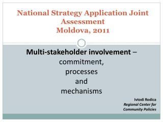 National Strategy Application Joint Assessment Moldova, 2011