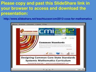 Slideshare Link CCSSM Jant Hale