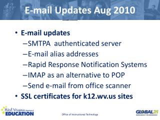 E-mail Updates Aug 2010