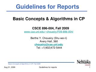 Basic Concepts & Algorithms in CP CSCE 896-004, Fall 2009  cse.unl/~choueiry/F09-896-004/
