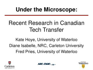 Recent Research in Canadian Tech Transfer