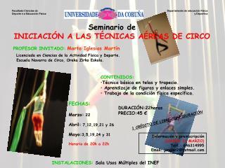 Seminario de INICIACIÓN A LAS TÉCNICAS AÉREAS DE CIRCO