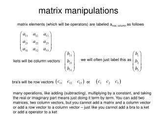 matrix manipulations