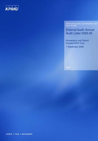 External Audit: Annual Audit Letter 2005-06