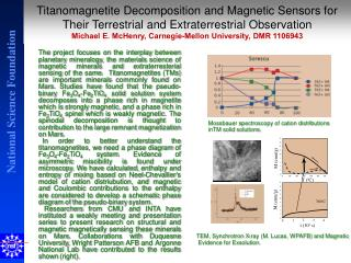 TEM, Synchrotron X-ray (M. Lucas, WPAFB) and Magnetic  Evidence for Exsolution.