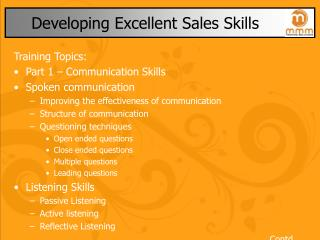 Developing Excellent Sales Skills