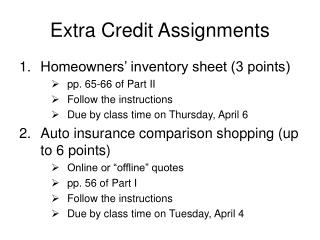 Extra Credit Assignments