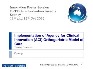 Implementation of Agency for Clinical Innovation (ACI) Orthogeriatric Model of Care Tracey Drabsch