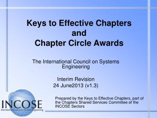 Keys to Effective Chapters  and Chapter Circle Awards