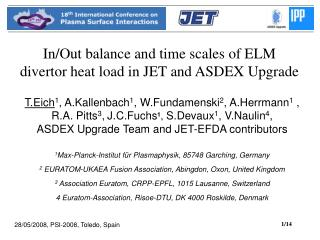 In/Out balance and time scales of ELM divertor heat load in JET and ASDEX Upgrade