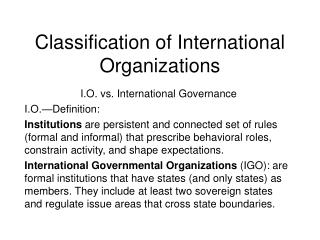Classification of International Organizations