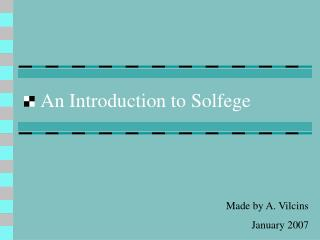 An Introduction to Solfege