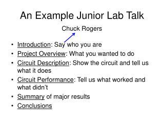 An Example Junior Lab Talk