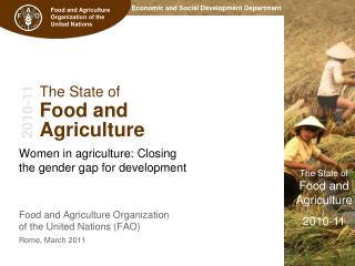 The State of  Food and  Agriculture