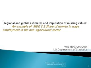 Valentina Stoevska ILO Department of Statistics