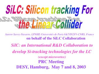 PRC Meeting DESY, Hamburg,  May 7 and 8, 2003