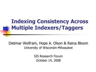 Indexing Consistency Across Multiple Indexers/Taggers