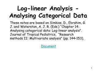 Log-linear Analysis - Analysing Categorical Data