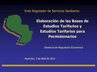 Elaboración de las Bases de Estudios Tarifarios y Estudios Tarifarios para Permisionarios