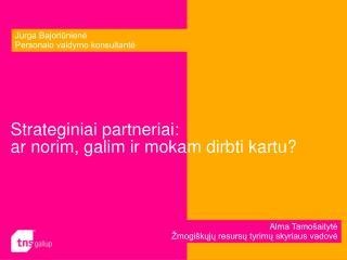 Strateginiai partneriai:  ar norim, galim ir mokam dirbti kartu?