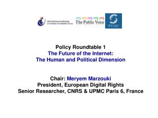Policy Roundtable 1 The Future of the Internet: The Human and Political Dimension