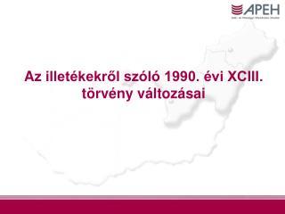 A z illetékekről szóló 1990. évi XCIII. törvény változásai