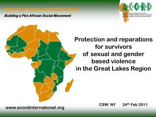 Protection and reparations  for survivors  of sexual and gender  based violence  in the Great Lakes Region