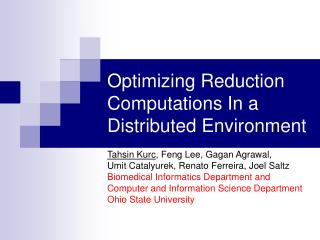 Optimizing Reduction Computations In a Distributed Environment