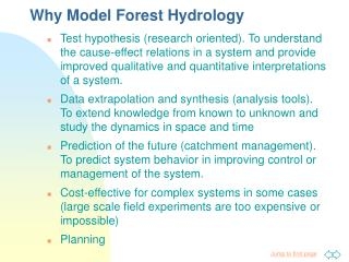 Why Model Forest Hydrology