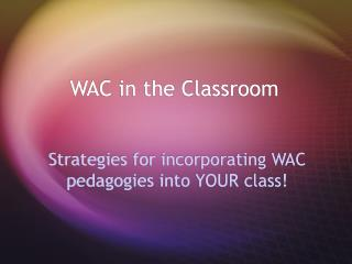 WAC in the Classroom