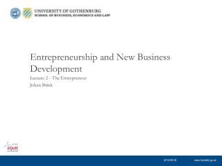 Entrepreneurship and New Business Development